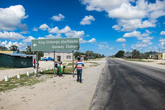 20140404-IMG_0294 (jbdodane) Tags: africa road station bicycle sign train cycling namibia velo vlo cyclotourisme cycletouring ovamboland day517 freewheelycom