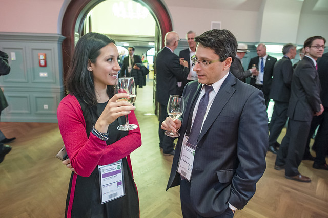 Aimée Aguilar Jaber and John Moavenzadeh network at reception