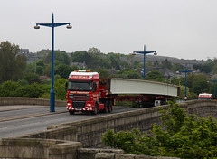 Crossing. (HivizPhotography) Tags: uk bridge 3 metal cat river scotland iron steel transport aberdeen trailer dee beams daf xf stgo prestons heavyhaulage potto broshuis awpr