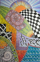 The 4 elements (sueingram24) Tags: painting drawing doodle zentangle zendoodle