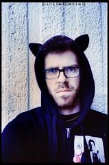 ( Digital Denial ) Tags: portrait people selfportrait colour film analog 35mm diy hoodie punx olympusxa2 expired catears