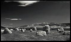 Stone Circle (zweiblumen) Tags: uk monochrome scotland standingstones alba isleofarran stonecircle polariser machriemoor northayrshire eileanarainn canoneos50d zweiblumen photoshopcs4