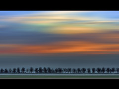 Flowing and glowing (Wim K) Tags: blue trees sunset sky mist holland netherlands dutch fog canon photography golden countryside photo moving mood magic stock nederland atmosphere row powershot line hour glowing flowing stockphoto linedup stockphotography goudriaan wpk s95 wpk2