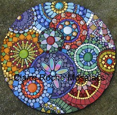 """Clockworks"" close up (Claire Roche Mosaics) Tags: blue red orange green glass yellow glitter circle happy gold mirror golden beads claire rainbow colorful purple mosaic circles limegreen mosaics orb stainedglass stained greens gazing emerald irridescent jewel glassart millefiori temperedglass glassglobs glittertile mosaicrainbow claireroche colorfusiontile clairerochemosaics"