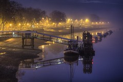 Thames River fog (esslingerphoto.com) Tags: uk longexposure greatbritain bridge blue light england reflection london wet water fog thames night docks reflections river boats photography eos lights boat dock europe long exposure nightshot britain capital great hour mooring gb nightshots putney 2470mm greatbritian esslinger 550d esslingerphotocom