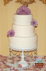 Vintage Lilac and Pearls Wedding Cake (www.jellycake.co.uk) Tags: wedding roses cake vintage lace ivory pearls sugar lilac lane memory wiltshire amnesia piped jellycake wwwjellycakecouk