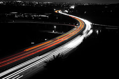 Driving Home For Christmas. (aimz_durrant) Tags: uk light red england white color colour motorway sony nighttime rushhour lighttrails nightlife alpha a200 shoreham selectivecolor selectivecolour a27 2011 sonyalpha sonya200 shorehambypass