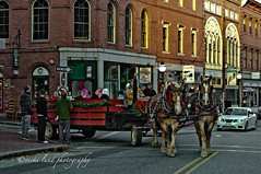 Christmas Season (Vicki Lund Photography) Tags: christmas city travel sunset red horses urban usa signs green nature yellow architecture buildings way season portland wagon geotagged 50mm prime one coast landscapes nikon downtown raw photographer seascapes fineart bricks maine citylife streetphotography photojournalism newengland naturallight east portfolio oldport freelance streetshot drafthorse stumbleupon equines 2011 d90 hayrides christms followthelight maineartist travelphotographer nikond90 mainephotographer vickilundphotography colorsnatural copywrite wwwvickilundphotographycom mainegov vickilund greatmainevacations