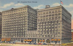 Congress Hotel - Chicago, Illinois (The Cardboard America Archives) Tags: chicago vintage hotel illinois linen postcard congress curtteich