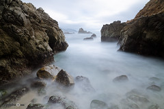 Misty Bay - [EXPLORED] (andreaskoeberl) Tags: ocean california longexposure white water clouds silver grey bay vanishingpoint nikon rocks waves stones gray bigsur overcast highway1 filter nd 1685 neutraldensity notherncalifornia d7000 nikon1685 nikond7000 andreaskoeberl