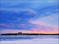 Dramatic Sunset Over Snowy Lake (LostMyHeadache: Absolutely Free *) Tags: winter sunset sky lake snow cold ice nature clouds frozen twilight towers glenmorereservoir davidsmith calgaryalbertacanada