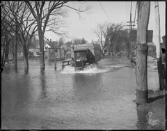 Braintree streets flooded from river overflowing from quick thaw (Boston Public Library) Tags: weather storms floods lesliejones
