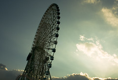 Yokohama City, Japan,Ferris wheel and sky (flaminghead Park) Tags: sky japan vertical fun outdoors photography day nopeople ferriswheel yokohama majestic enjoyment japaneseculture partof traveldestinations colorimage lowangleview artscultureandentertainment kanagawaprefecture flaminghead