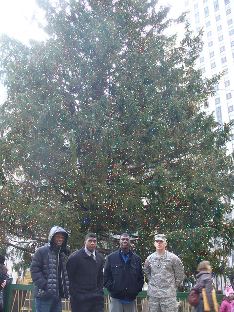 Soldier of the Year and Army All-Americans visit the tree at Rockefeller Center