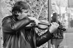 Violinista - Violinist (claudio marchini) Tags: street portrait blackandwhite bw strada gente bn ritratto violinist bianconero peolple violinista artistidistrada