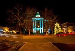 Round and Round The Courthouse They Go (Tom Frundle) Tags: christmas longexposure usa us holidays tn vibrant tripod trails wideangle historic courthouse nightscene southeast murfreesboro civilwarera middletennessee 8mmfisheye rutherfordcounty rokinon december2011 pentaxkr tomfrundle
