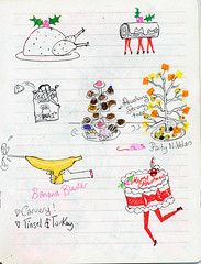 xmas 2011  sketchbook (Andrea Kett) Tags: christmas turkey banana holly christmascake yulelog turkeylegs sugarmice cheeseandwine christmasturkey bananagun andreakett andreakettillustrations