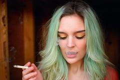 Karrrrrah. (chou-fleur photos) Tags: color colour eye gold nikon cigarette smoke calm smoking faded cig sultry vanilla nikkor bluehair seafoam kobus americano karrah karrahkobus rememberthatmomentlevel1