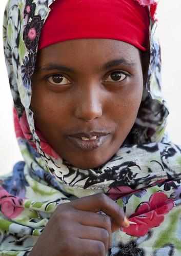 Portrait Of  Veiled Young Woman Baligubadle Somaliland