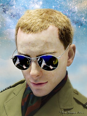 Imitation of life (Gate Gustafson) Tags: boy portrait sky man reflection face sunglasses closeup clouds composition scarf photomanipulation stars soldier ginger erotic underwear head surrealism stripes military wwii khaki surreal battle sensual redhead textures bust jacket galaxy serenity photoediting birdsinflight layers serene freckles vest concept sensuality crewcut surrealistic reserved officer gentleman stardust doves constellation pores suggestive ambiguous postwork flockofbirds carrottop lewd aloof sensuous starsystem eroticism chevrons redhaired dtente starcluster epaulettes conceptualphotography buttonedup sensuousness texturedlayers worldconflict aviatorspectacles gentlemenlike royalmuseumofthearmedforcesandofmilitaryhistorybrussels museroyaldelarmeetdhistoiremilitairebruxelles britishofficerworldwarii koninklijkmuseumvanhetlegerendekrijgsgeschiedenisbrussel