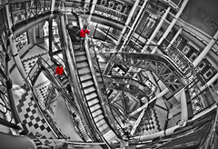 Red Coats and Escalators (CWhatPhotos) Tags: canon 7d eos dslr cwhatphotos opteka 65mm f35 aspherical fisheye fish eye lens wide angle view newcastle upon tyne monument mall escalator escalators stairs shop shops adobe lightroom paint pro photox2 bw photos pictures taken by with using manual picture photo that have fisheyeview opteka65mm fisheyelens manualfocus f 35 foto blackandwhite blackwhite photography monochrome monochromed red coat partial selective colour looking down flickr