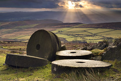 Mill Stones (Stanage Edge) (Andrew John Ray) Tags: park light mill spectacular industrial ray stones district derbyshire peak national edge setting atmospheric shaft sum stanage archeaology