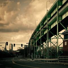 Tobin Bridge, Boston (Sunset Noir) Tags: city bridge green boston river ma town memorial massachusetts hill charles center bunker charlestown p leonard prudential zakim tobin