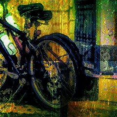 Parked bike (John Mallon Iphoneography) Tags: art bike bicycle grunge hypothetical iphone vividimagination artdigital dynamiclight anawesomeshot procamera photowizard superimposer photogene awardtree iphoneography scratchcam snapseed