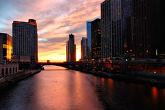 A Sweet Sunrise in Chicago HDR (Seth Oliver Photographic Art) Tags: chicago sunrise buildings reflections iso200 illinois nikon midwest skyscrapers cities cityscapes michiganavenue chicagoriver hdr highdynamicrange beautifulclouds pinoy urbanscapes secondcity windycity chicagoist d40 wetreflections 25secondexposure cityofchicago pseudohdr cityofbigshoulders columbusdrivebridge hdrimages beautifulmorninglight 10stopndfilter ultrawideanglelens perfectsunsetssunrisesandskys manualmodeexposure setholiver1 sunriseinchicago tripodmountedshot dusablebridge 1024mmtamronuwalens aperturef250 timedelaytriggeredshot
