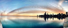 Chicago sunset on a 50 degree day in January (Joshua Mellin) Tags: sunset lake chicago weather skyline warm january lakemichigan warming global chicagoist unseasonablywarm