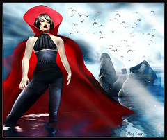 The Bellatrix Wears Red (Alles Klaar) Tags: blue red sky woman distortion water beauty birds clouds reflections framed secondlife cape hood lightbeams windlight filterforge
