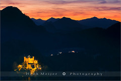 Hohenschwangau Castle - Bavaria - Germany (~ Floydian ~ ) Tags: wood autumn sunset sky mountain lake mountains color colour fall water colors forest canon germany stars landscape bavaria star see colours view postcard romance postcards romantic bluehour neuschwanstein viewpoint meijer henk eveninglight fussen hohenschwangau allgau warmcolours floydian proframe proframephotography canoneos1dsmarkiii henkmeijer