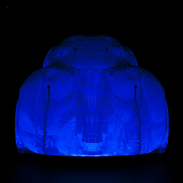 light art blue skeleton car