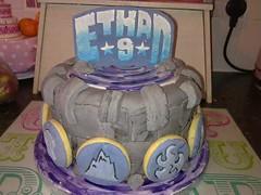 skylanders birthday cake and logo cookies (pinky momotaro) Tags: cookies cake logo symbol name sugar turret fondant skylanders