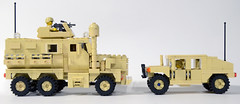 Force Protection Side by Side (Josh Bernstein) Tags: afghanistan 6x6 modern soldier war force lego military iraq eod armor minifig humvee protection cougar machinegun ied tactical mrap brickarms jerrv tinytactical