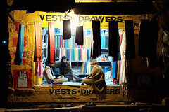 Finest Vests & Drawers (Jon Siegel) Tags: india men shop night 50mm lights nikon colorful style varanasi vests nikkor drawers f12 nikkor50mmf12 nikkor50mmf12ais d700