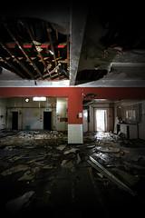 My first Urbex shot (www.forgottenheritage.co.uk) Tags: school building rot dark quiet shadows decay pillar explore damp ruined knackered rafters lurk urbex sneak