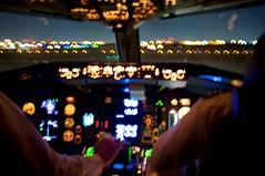 Night Lineup (David's_silvershots) Tags: bw fuji finepix boeing 767 wideopen x100