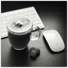 At Work!! (Ok Pretending to work :0)) (Samantha Nicol Art Photography) Tags: life food white black art apple cup glass coffee square mouse mono milk still nikon keyboard imac drink desk chocolate snack mug biscuits samantha cappuccino froth nicol