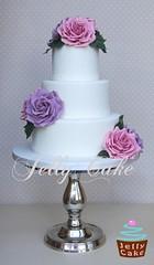 Dusky Rose Blooms Wedding Cake (www.jellycake.co.uk) Tags: pink wedding roses rose cake vintage lace pearls lilac lane memory wiltshire dusky amnesia jellycake wwwjellycakecouk