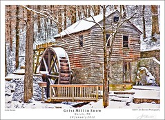 Grist Mill in Snow (jimservies | photography) Tags: gristmill singleexposurehdr norristennessee norristn d700 nikond700 topazadjust hdrefexpro jimserviesphotography millsnow fineartartistseries