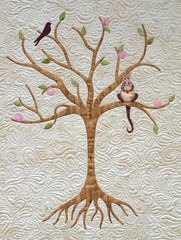 Little Possum - tree detail (emma_louise) Tags: original baby flower detail tree bird art leaves spiral spring pattern quilt blossom feathers quilting fiberart applique commission homedecor feature freemotion fibreart bedquilt fmq sampaguitaquilts
