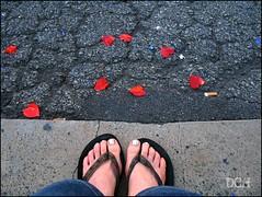Freo Festival Feet (suavehouse113) Tags: selfportrait feet festival hearts pavement australia confetti parade litter flipflops procession lookingdown fremantle freo bitumen westernaustralia philscamera 2011 fremantlefestival southterrace cappuccinostrip dolookdown fremantlefestivalstreetparade
