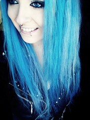 Blue again...I'm Addicted! ( BiBi BaRbArIc ) Tags: blue girl make up hair eyes long turquoise emo style scene indie bibi piercings barbaric septum sitemodel snakebites