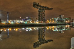 A National Symbol (Neil Nicklin Photography) Tags: reflection industry water night river lights scotland clyde long exposure time crane glasgow united kingdom landmark hdr photomatix 3exp finneston