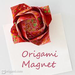 Origami Magnet (Maria Sinayskaya) Tags: floral origami folded washi toshikazukawasaki singlesheetorigami 363chiyogami