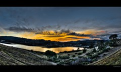 fault line | hdr panorama [explore + front page] (elmofoto) Tags: sf california blue sunset panorama orange lake mountains reflection water northerncalifornia landscape san fav50 andreas explore norcal hdr highdynamicrange 500v 1000v photomatix fav25 fav100 tonemapping explored hdrpanorama fav75 borderfx fav125 elmofoto lorenzomontezemolo
