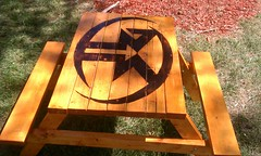 Rockford Fosgate Kids Coffee Table (craigmack068) Tags: wood stain bench logo table picnic burn bone custom collector rockford woodburning cgc fosgate