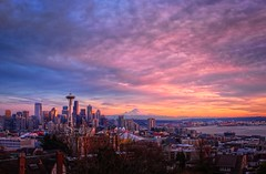 Seattle Kerry Park Winter Sunset (Fresnatic) Tags: seattle city winter sunset color mountrainier pacificnorthwest spaceneedle kerrypark washingtonstate hdr elliotbay urbanskylines canonrebelxsi seattlehdr fresnatic photoshopcs5