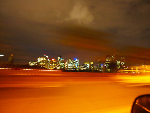 drive-by city lights